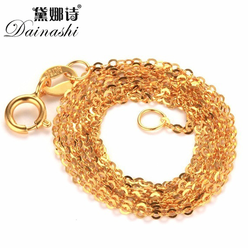 Dainashi High Quality Chain Fashion Genuine 18K Gold Chains Au750 Fine Gold Jewelry High Quality Anti Allergic 45cm Gift Box image