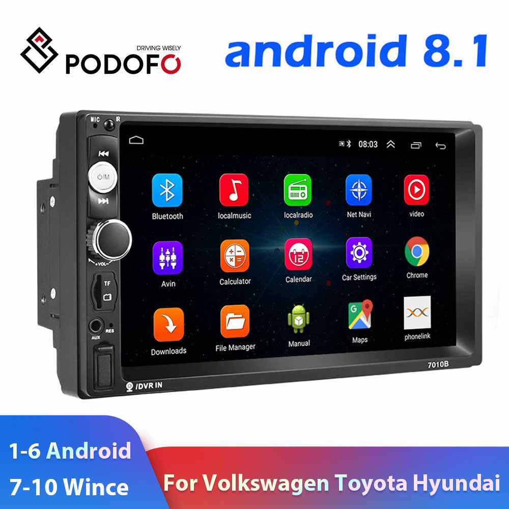 "Podofo 2 Din Car radio Multimedia Video Player 2 din 7"" Wince / Android with GPS Wifi Autoradio for Universal VW Toyota Hyundai"