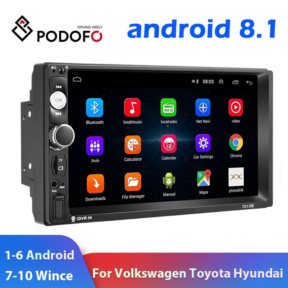 Podofo 2 Din auto radio Multimedia reproductor de Video 2 din 7