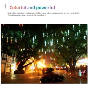 Image 5 - Luz LED de 8 tubos de 30/50cm para vacaciones, cadena de ducha de meteorito, Festival impermeable, luz de jardín interior y exterior para Año Nuevo