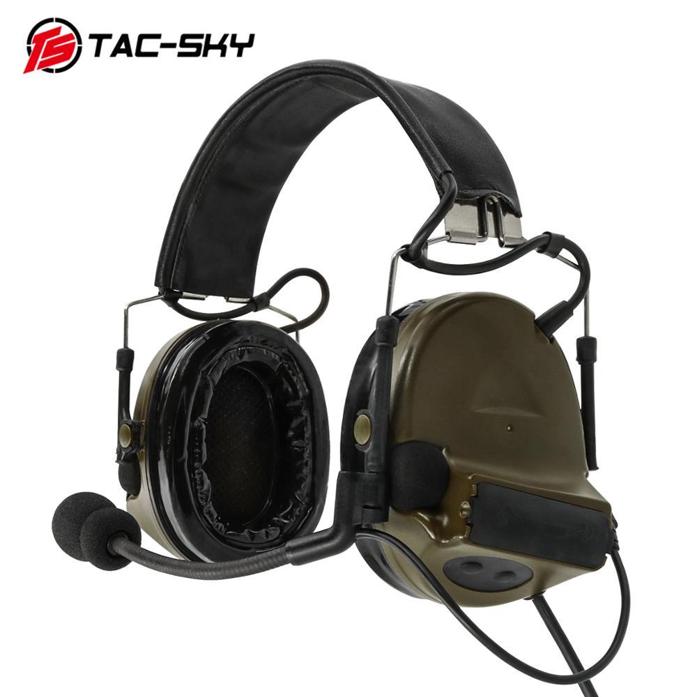 TAC-SKY U94 Kenwood plug PTT + COMTAC II silicone earmuffs noise reduction pickup military shooting tactical headset FG
