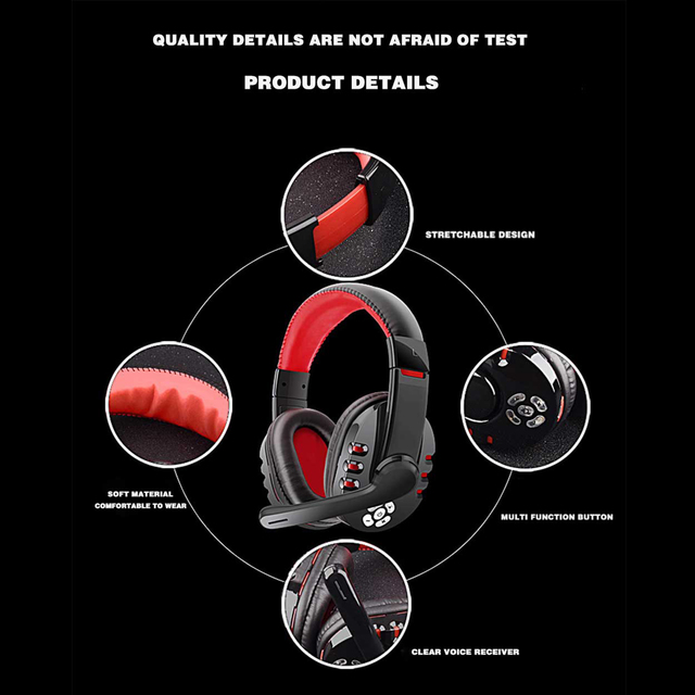 V8-1 Headphones V5.0 Bluetooth Gaming Headset OVLENG Wireless Stereo Earphone With Microphone for PC Phone Laptop Computer