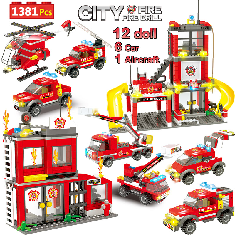1381pcs City Fire Station Building Blocks Compatible Legoinglys City Police Firefighter Truck Car Boat Bricks Toys for Children image
