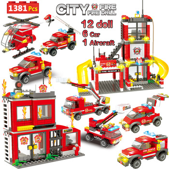 1381pcs City Fire Station Building Blocks City Police Firefighter Truck Car Boat Bricks Toys for Boys Children bevle gudi 9316 city police series mobile police station model building blocks bricks model bricks gift for children city toys