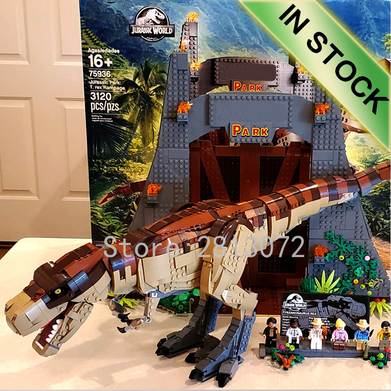 Jurassic  worlded Park movie rex Rampage 11338 In Stock 3508PCS Model Building blocks bricks Toys Compatible with 75936