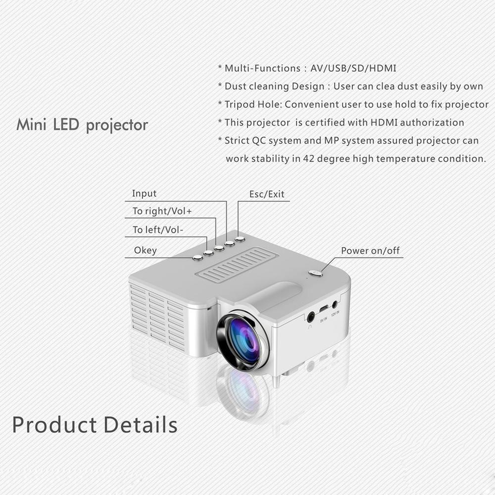 Início Mini Projetor Portátil Em Miniatura Projeção HD 1080P Mini Projetor LED Para Home Theater Entretenimento-2