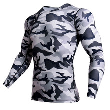 New MMA Rashgard Compression Shirt Men Long Sleeve Fitness Running Sports T Gym Crossfit Soccer Jersey Camo Tshirt