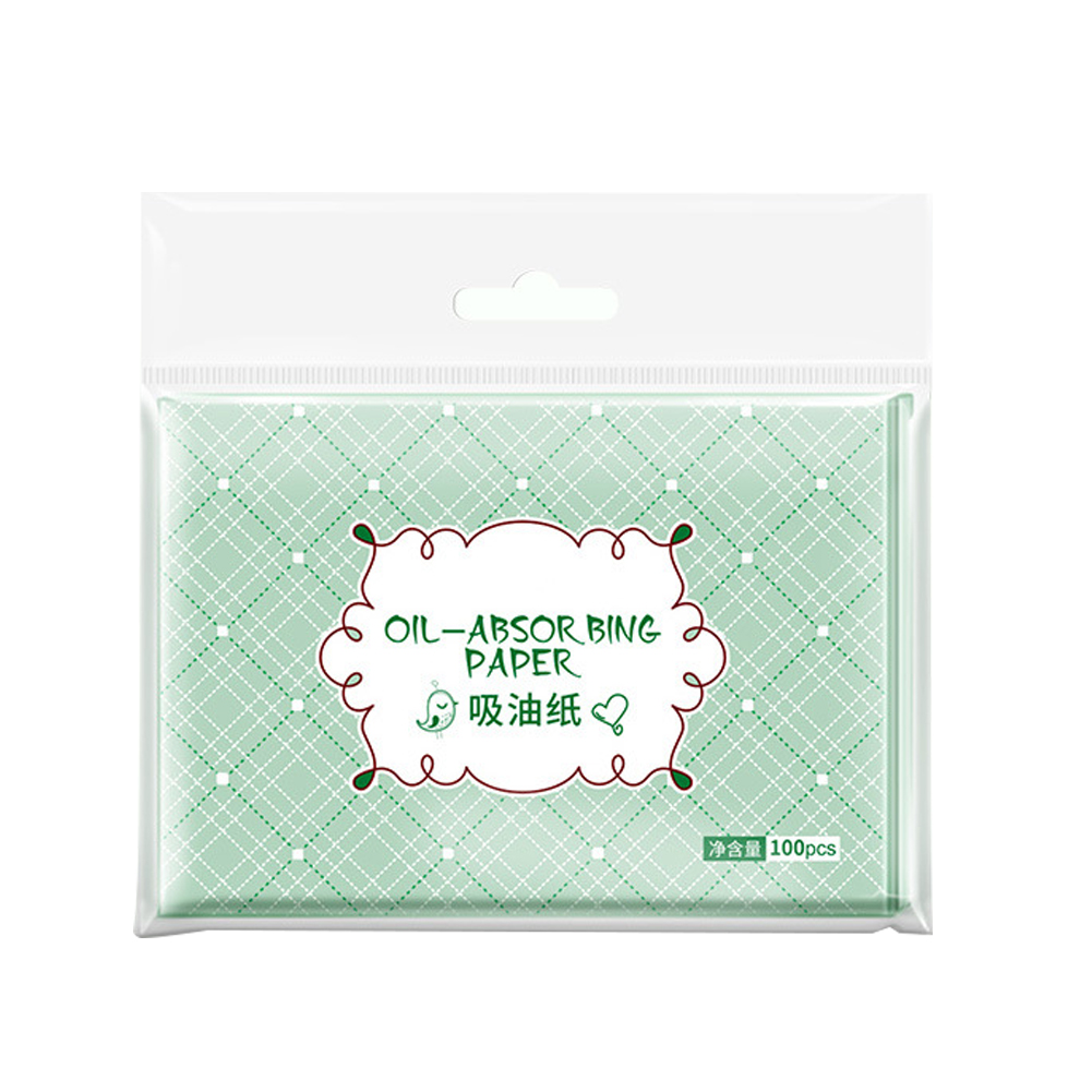 100pcs Soft Green Tea Smell Mild Make Up Comfortable Balance Grease Blotting Oil Absorbing Paper Facial Clean Professional