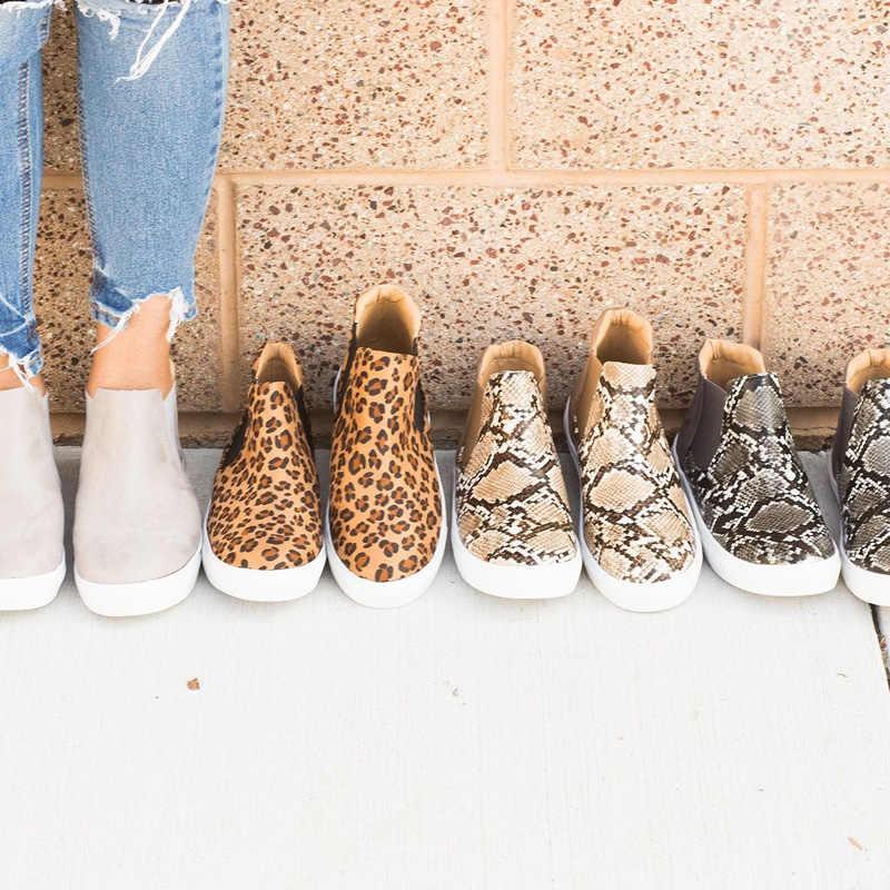 SıCAK Sonbahar Kadın Botları Rahat kanvas ayakkabılar Kadın Flats Ayakkabı Leopar yarım çizmeler Kadın platform ayakkabılar Artı Boyutu 35-43 WSH3408