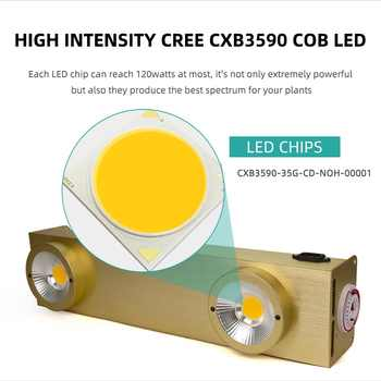 Cree CXB3590 200W Dimmable COB LED Grow Light Lamp Full Spectrum With Timer For Indoor Greenhouse Plants Flowers All Stage Grow