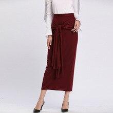 Islamic Clothing Skirt Bottom Arab Slim Dubai Fashion Bow Party-Bow Eastern-Wear Bodycon