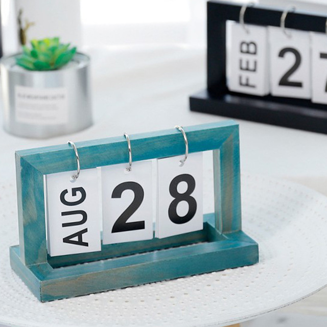 Office Wooden Vintage Home Calendar Cafe Desktop Decorative Rustic Ornaments DIY Flip Daily Planner Table Planner Calendar 5