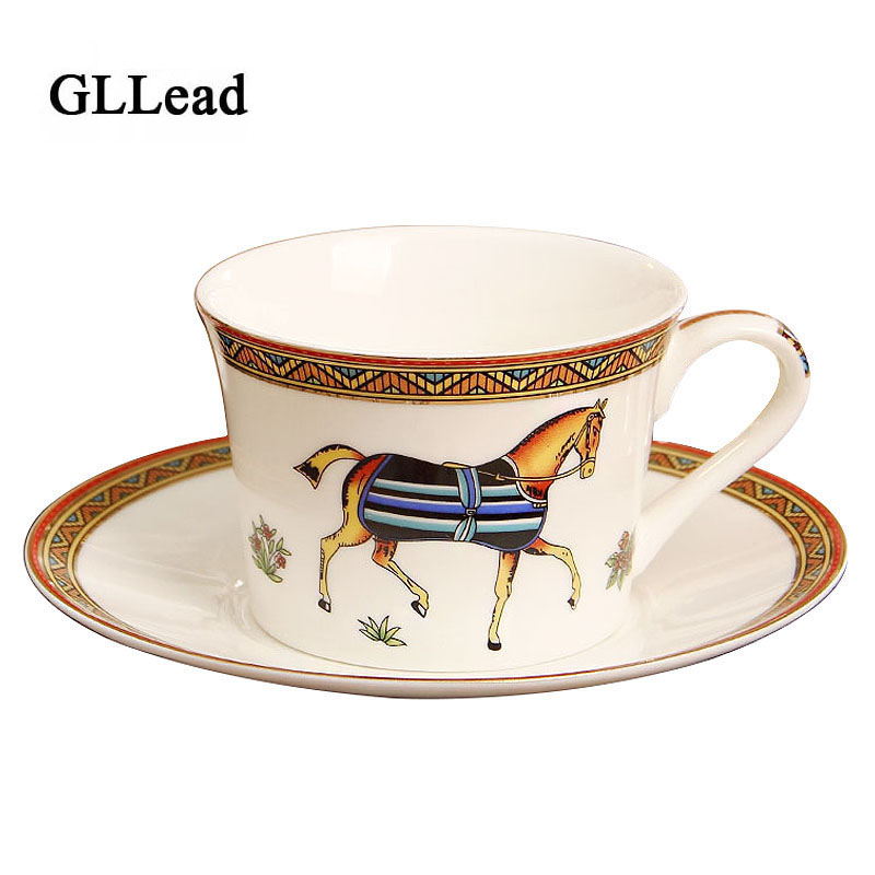 GLLead European Style Porcelain Coffee Cup Bone China Coffee Set Ceramic Tea Cups and Saucers Home Office Teacup Drinkware