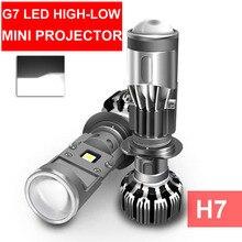 2x H4 H7 G7 LED HI LOW MINIโปรเจคเตอร์เลนส์ไฟหน้ารถรถจักรยานยนต์ล้างตัดสายBeam Super Turboพัดลม 12V 5500K 55W 8000LM