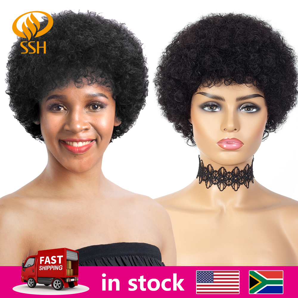 Short Afro Kinky Curly Wig Brazilian Remy Human Hair Short Full Wigs 150% Density For Women Black Brown Color Cheap Wigs