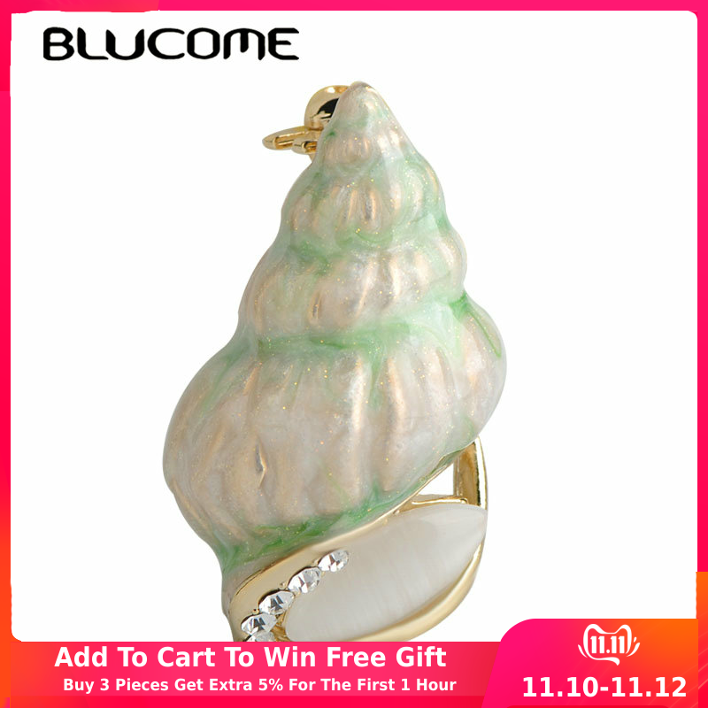 Blucome Summer Style Smooth Sea Conch Snail Brooch Green Enamel Women Girls Suit Dress Clips Scarf Shoulder Jewelry Corsage Pins