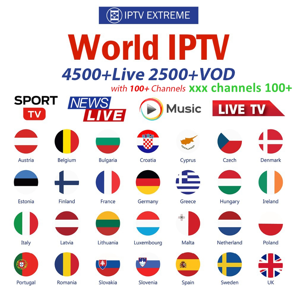IPTV German French Turkish UK Poland Romania Hungary Czech Spain Nordic HD IPTV Support Android M3U Smart TV Series VOD With Xxx
