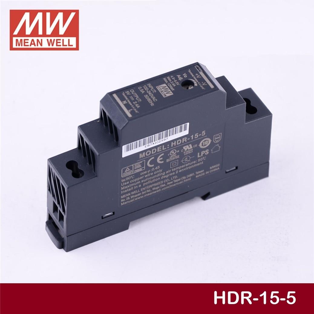 Лидер продаж бренд MEAN WELL представляет HDR-15-5 5V 2.4A meanwell HDR-15 напряжение 15 Ватт, Выход промышленные на din-рейку Питание