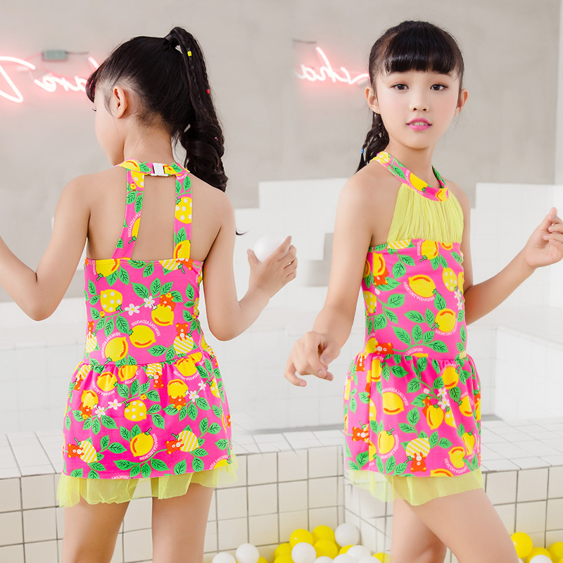 2019 New Products GIRL'S Swimsuit 65-90 Jin Big Kid One-piece Plaid Bow CHILDREN'S Swimsuit Nt493107