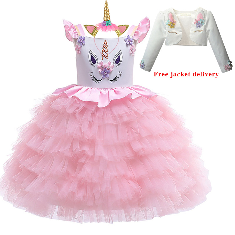 H8ae2fa6100df4943b60baaeb1030520d9 New Unicorn Dress for Girls Embroidery Ball Gown Baby Girl Princess Birthday Dresses for Party Costumes Children Clothing