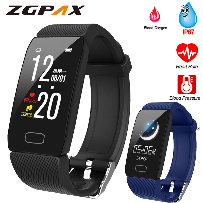 Fitness Bracelet Blood Pressure 1.14'' Screen Fitness Tracker Smart Watch Waterproof Smart Wristband Weather Display Women Men