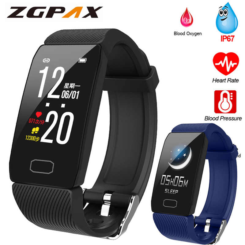 Fitness Armband Bloeddruk 1.14 ''Screen Fitness Tracker Smart Horloge Waterdicht Smart Polsband Weer Display Vrouwen Mannen