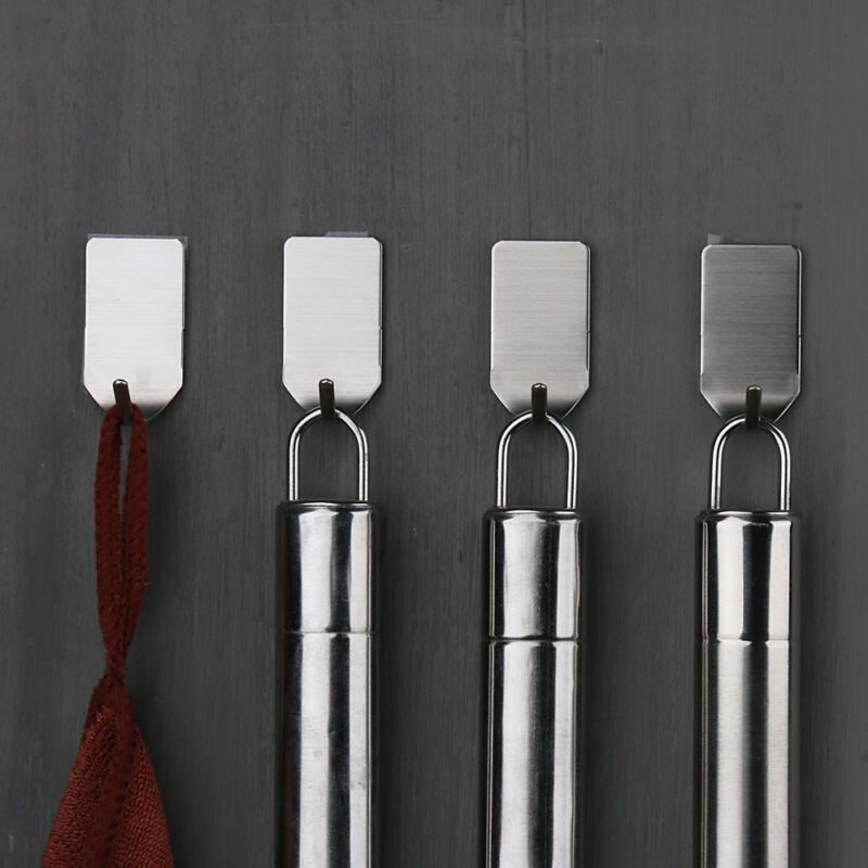 8 Pcs Bathroom Stainless 3M Self Adhesive Sticky Hooks Wall Storage Hanger  Multi-Purpose Hooks