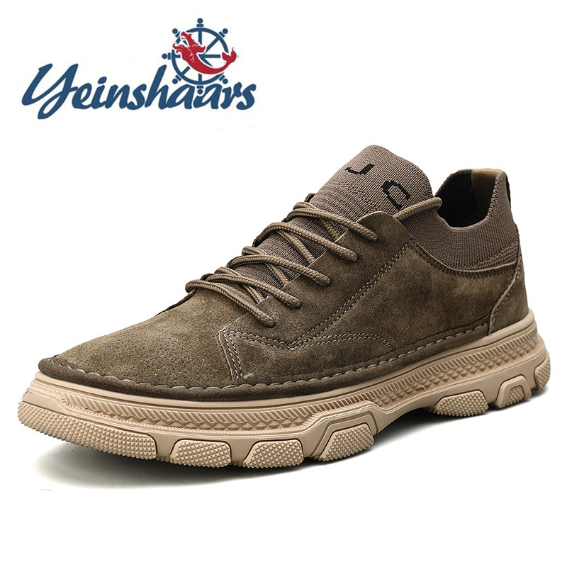 Sneakers Men Shoes Casual Natural Leather Fashion Outdoor Shoe Male Suede Lightweight Vintage Footwear Lace-up Solid Sock Shoes