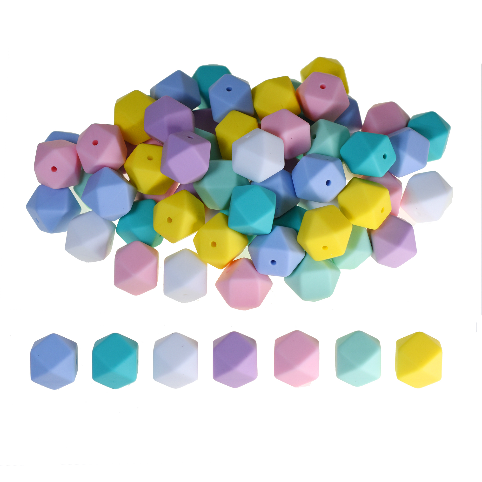 Hexagon Silicone Teething Beads DIY Baby Safe Teeth Care Jewelry Making 17mm