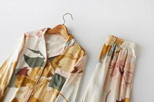 Image 5 - Combinaison pyjama pour Femme, chemise et pantalon, tenue pour Femme, manches longues, imprimé fleuri, ensemble décontracté