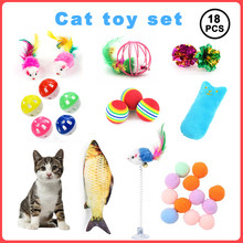 18Pcs Cat Toy Set Funny Pet Interactive Fish Mouse Ball Catnip Toy Teaser Kittens Toys Goods Cats Games Accessories Supplies For