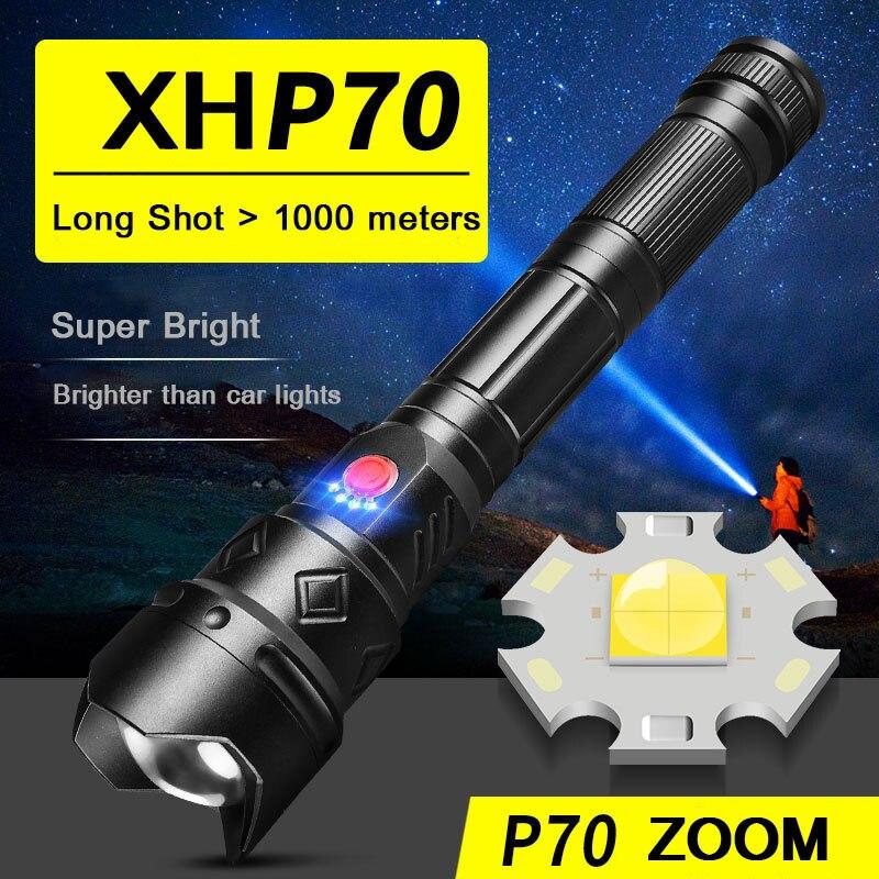 Zhiyu lanterna led xhp 50 70, ultra brilhante 26650 18650 lâmpadas de acampamento de alta potência recarregável usb 3 modos lanterna