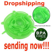 Dropshipping 6pcs Silicone Stretch Lids Food Wrap Bowl Pot Lid Cover Pan Universal Silicone Lid for Cookware Kitchen Accessories