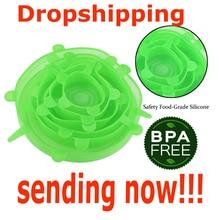 Dropshipping 6pcs סיליקון למתוח מכסי מזון לעטוף קערת סיר מכסה כיסוי פאן האוניברסלי סיליקון מכסה עבור כלי בישול מטבח אבזרים
