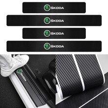 Autocollants de protection 3D anti-rayures pour seuil de voiture, 4 pièces, étanche, pour Skoda Yeti Roomster Octavia Rapid Fabia Superb Scala Kamiq