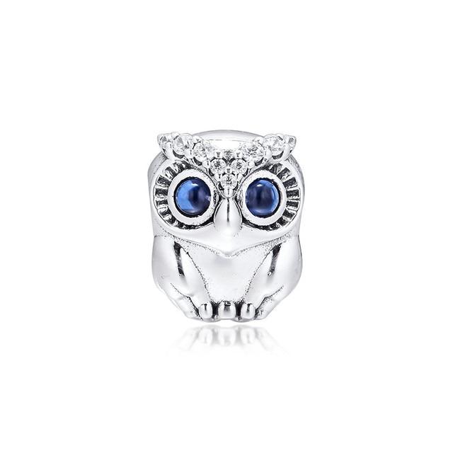 Hibou étincelant gros yeux perles de cristal pour Bracelets à breloques 2019 automne 925 bijoux en argent Sterling perles à breloques pour la fabrication de bijoux