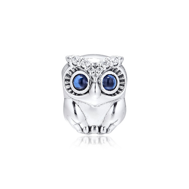 Sparkling Owl Big Eyes Crystal Beads for Charms Bracelets 2019 Autumn 925 Sterling Silver Jewelry Charm Beads for Jewelry Making