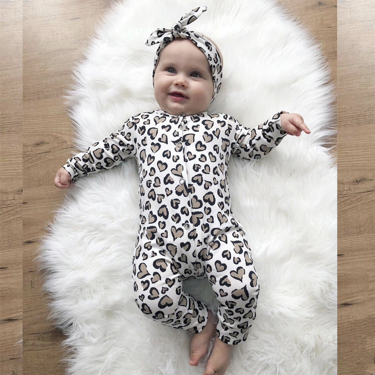 2Pcs Newborn Baby Girls Clothes Set Cotton Hearts Print Infant Long Sleeve Jumpsuit+Headband Toddler Girls Clothing(China)