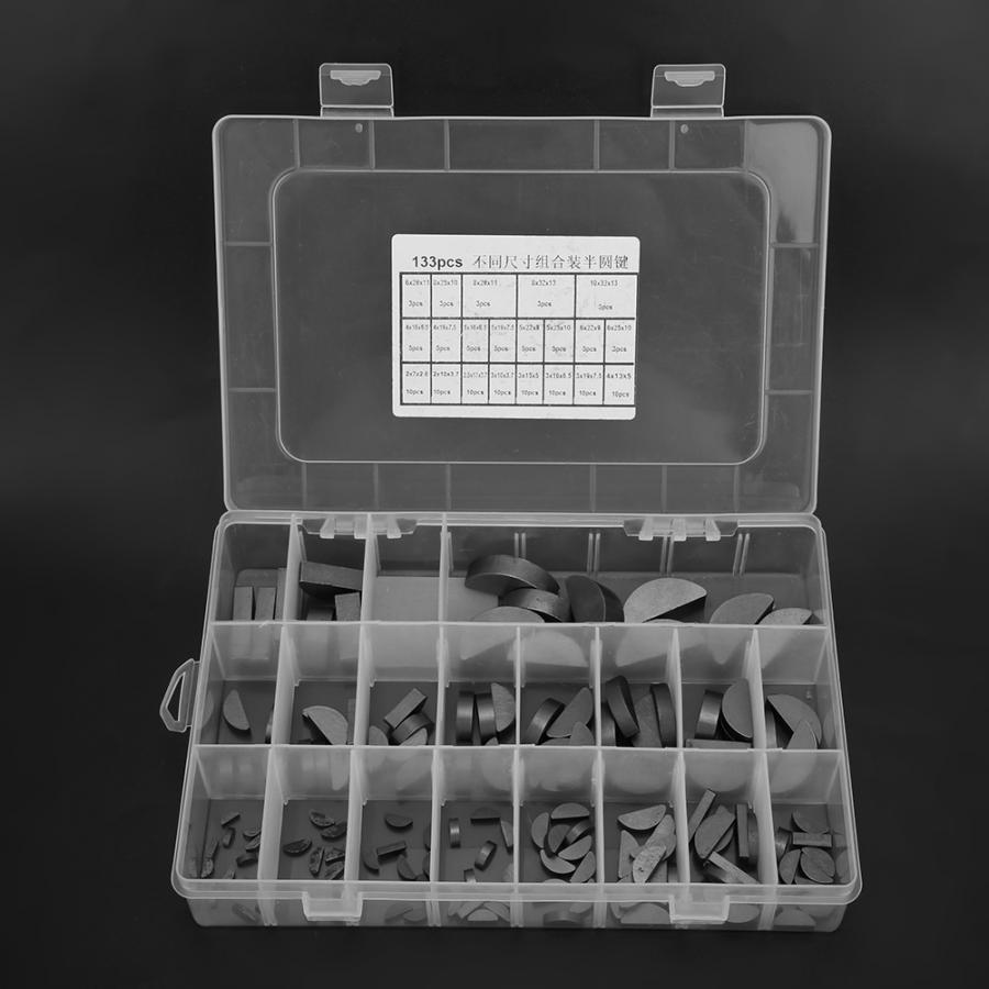 135PCS Metal Multiple Size Pratical Flywheel Pulley Crank Way Key Assortment Kit with Box for Repairing Maintenance Household Woodruff Key Set