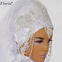 2020 Muslim Lace Beading Wedding Veils White/Ivory Bridal Veils Arabic Long Wedding Accessories Arabic Velo De Novia