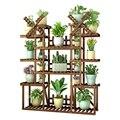 Multi stöckige Zimmer Gebaut in Rack Landung Typ Balkon Massivholz Eisen Kunst EIN Wohnzimmer Fleischig Botanik blumentopf Rahmen-in Pflanzenregale aus Möbel bei