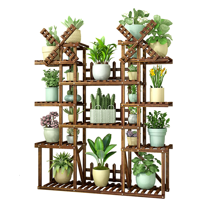 Multi-storey Room Built-in Rack Landing Type Balcony Solid Wood Iron Art A Living Room Meaty Botany Flowerpot Frame