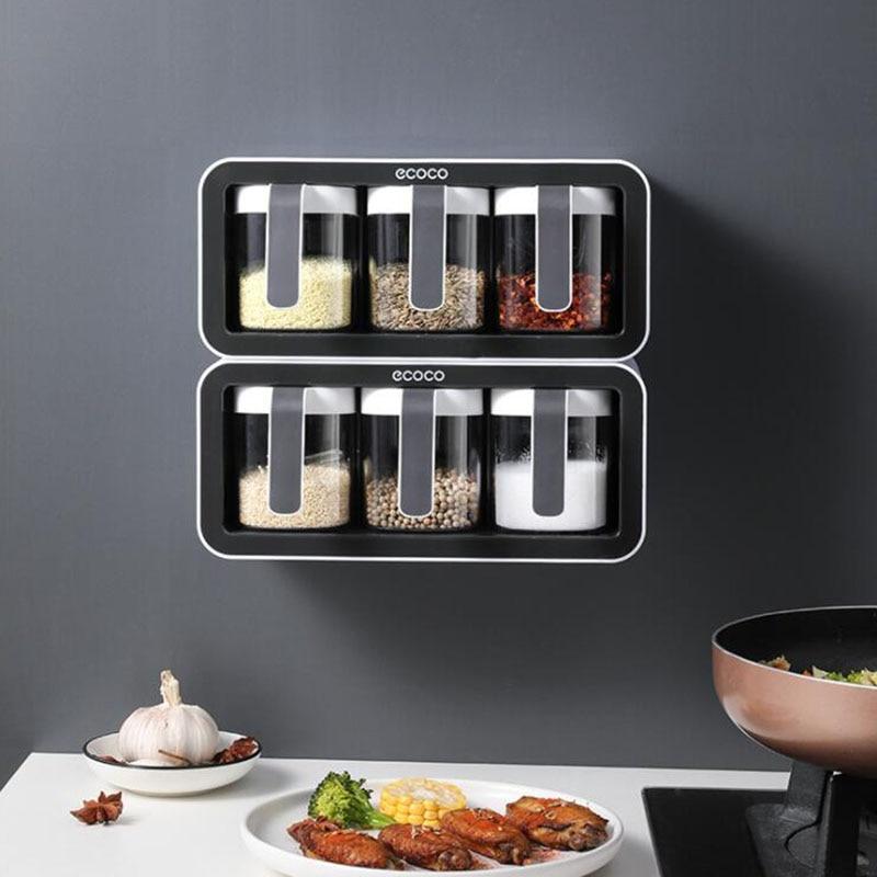 Cozinha tempero rack perfurador-livre tempero caixa organizador fixado na parede tempero caixa conjunto de tempero doméstico jar caixa de armazenamento