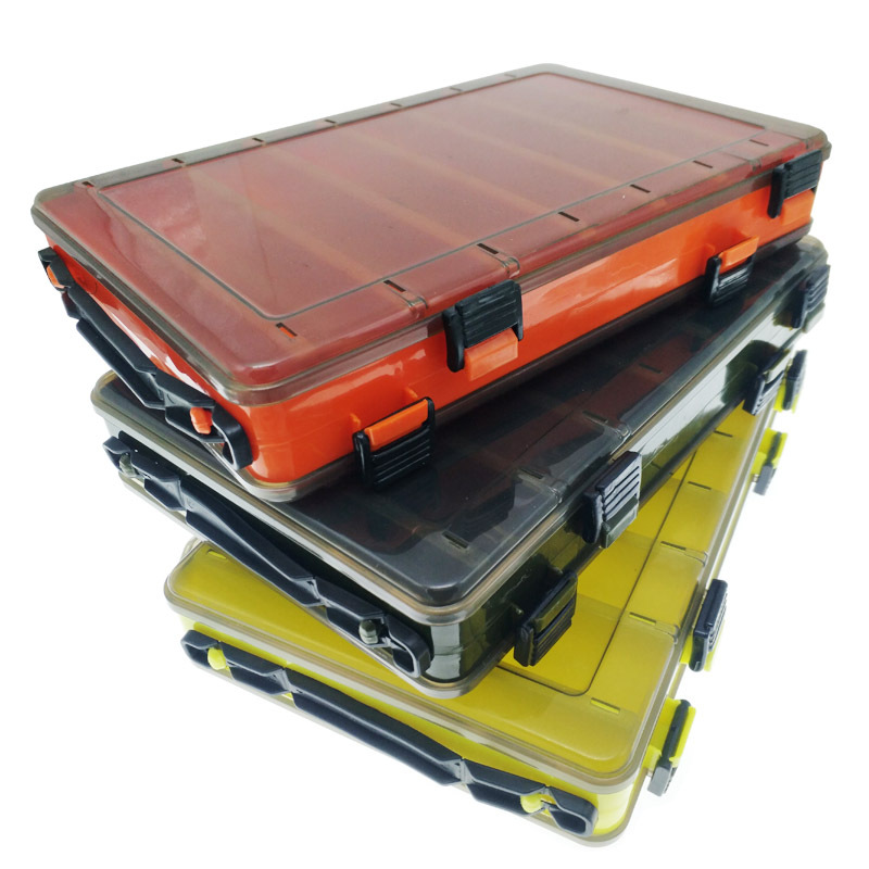 Waterproof Fishing Tackle Boxes Fishing Accessories Double Sided Storage Case Yellow Gray Plastic Sub-Box for Fishing Hook Bait