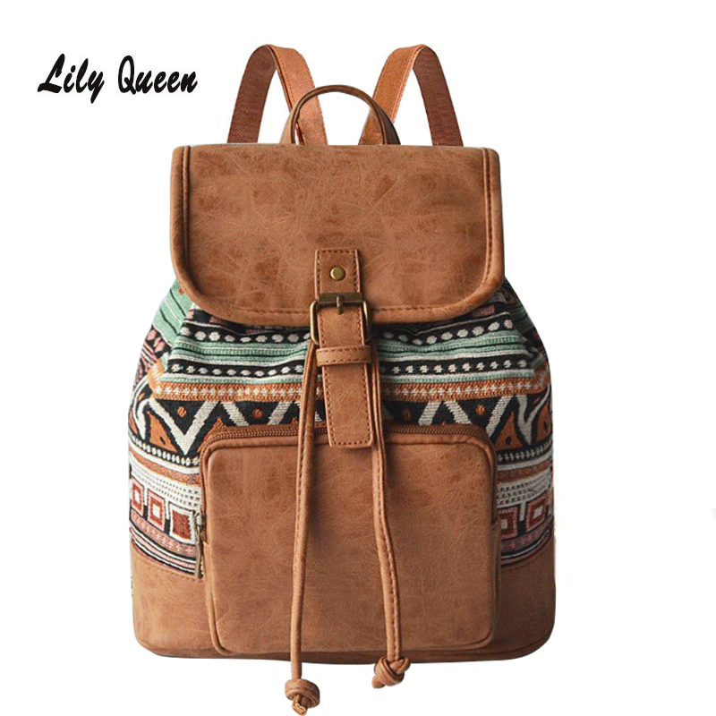 Lily Queen Fashion Bohemian Purse Backpack Lightweight Travel Bags For Women And Teen Girls School Rucksack
