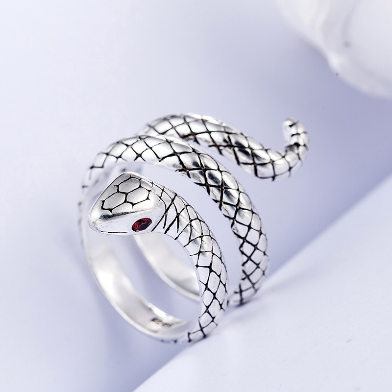 100% 925 Sterling Silver Trendy Snake Animal Lady Finger Rings Original Jewelry For Women Open Party Ring Girls Students Gift