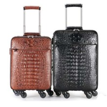 dongou men  crocodile  Pull rod box  Universal wheel  multi-function  Genuine leather  The luggage  custom  wholesale  business