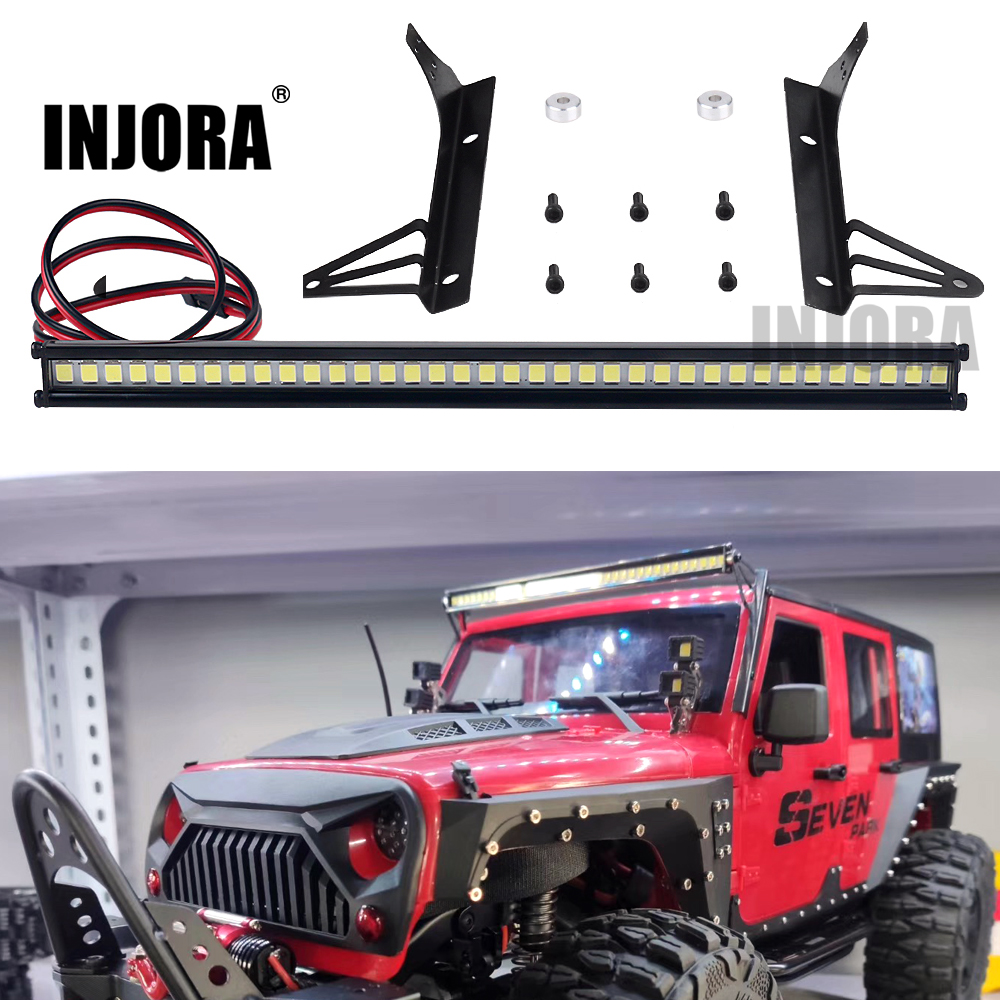 INJORA 150MM Metal Bright 36LED Lights Bar For 1/10 RC Rock Crawler Car Axial SCX10 90046 Jeep Wrangler Body Shell