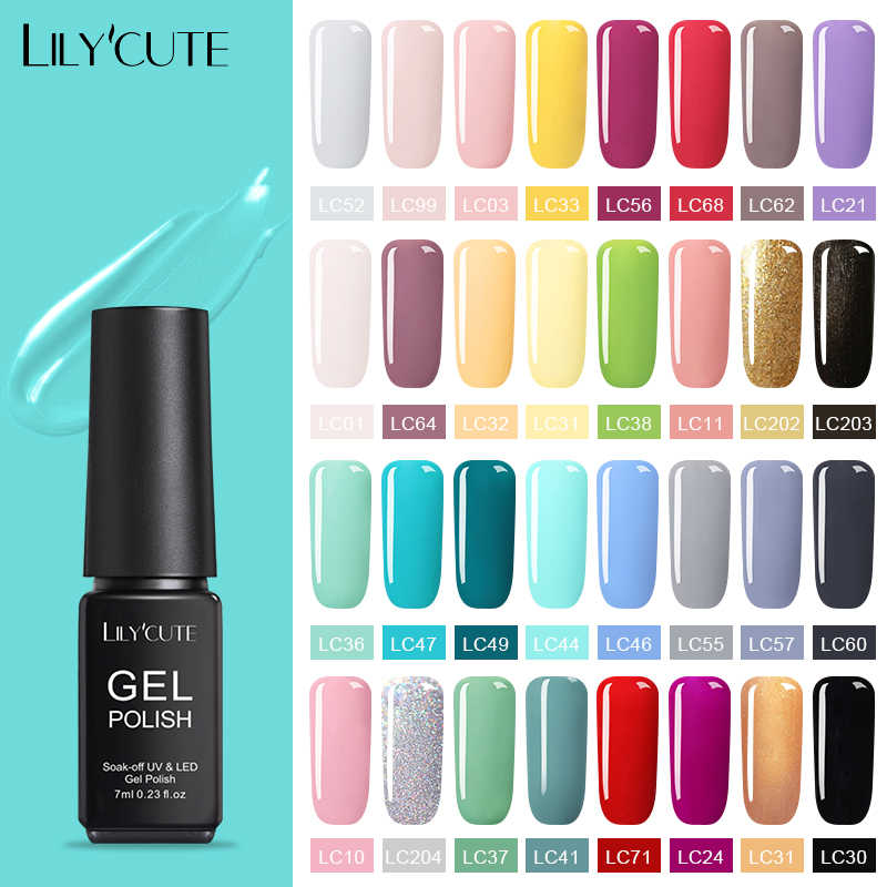 Verniz uv semi permanente do gel da arte do prego do diodo emissor de luz uv da cor do prego do verniz do gel da arte do prego de lilycute 7ml