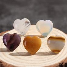 Натуральный кварц в форме сердца Кристалл Рейки минералы чакра Целебный Камень ручной работы ювелирные изделия подвеска из драгоценных камней подарок DIY домашний декор